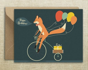 Happy Birthday Fox Bike  Card