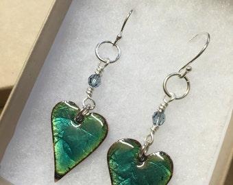 Turquoise textured Heart earrings