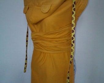 Podaegi - Horizontal Strap Mustard Coloured Shanty Baby Wrap Conversion Pod with Hood and Ears