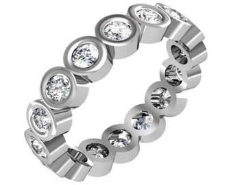 Bezel Set Eternity Ring,Bezel Set Diamond Eternity Ring, Diamond Eternity Ring Bezel Set in 14K White gold. Classic Diamond Ring