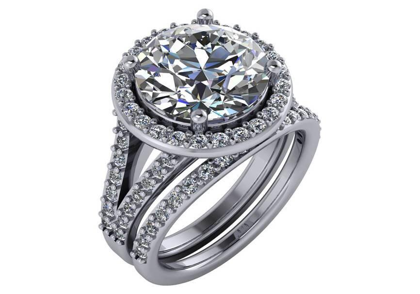 5 carat ring huge engagement ring big moissanite engagement ring 5 carat halo moissanite engagement ring - Huge Wedding Rings