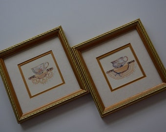 Framed Teacup Set - Matted with Gold-Toned Textured Frames - Two Included