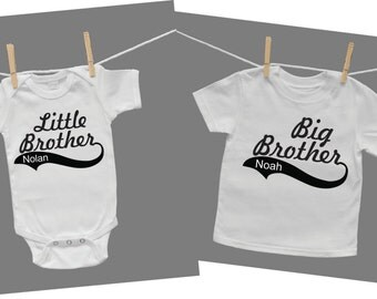 Little Brother Big Brother Baby Bodysuit and Tshirt Set
