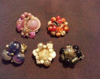 Clip on earrings 5 piece lot vintage