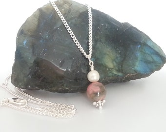 Rhodonite Pendant Necklace, Rhodonite Orb, Rhodonite Orb and Pearl Pendant Necklace, Silver Plated Rhodonite and Pearl Pendant Necklace