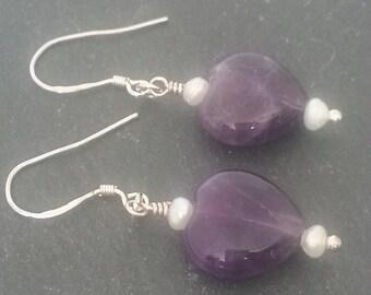 Amethyst Heart Earrings, Silver Plated Amethyst Earrings, Love Heart Earrings, UK Seller