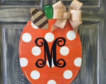 Pumpkin doorhanger with monogrammed initial
