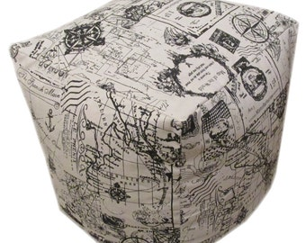 """Nautical Theme Bean Cube Foot Stool Seat Pouffe 45cm (18"""") Handmade Cover Only"""