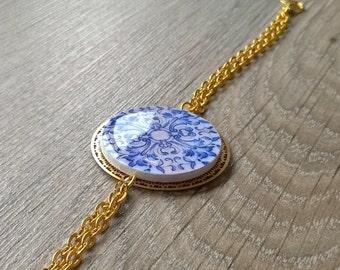 Portuguese tiles bracelet, Portuguese jewelry, azulejo, tile bracelet, round tile, blue and gold bracelet