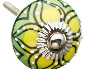 Yellow & Green with Raised White dots Dresser, Drawer, Door or Cabinet Knob Pull m253g