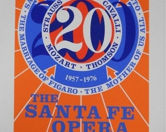 Robert Indiana Santa Fe Opera 20th season signed print 1976