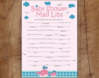 Pink Whale Baby Shower Mad Libs, Nautical Baby Shower Mad Libs, Printable Girl Whale Advice Cards Mad Libs Game, Pink Whale Baby Shower
