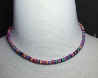 African vinyl disc bead, choker necklace, beaded choker