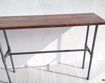Console tube industrial steel, industrial table, piper, wood, vintage, modern, loft