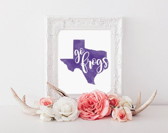TCU Horned Frogs Watercolor State Printable (8x10)
