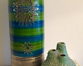 "Large Green/Silver Rosenthal Netter Signed 12"" Vase - 100% MINT condition"