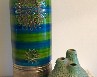 """Large Green/Silver Rosenthal Netter Signed 12"""" Vase - 100% MINT condition"""