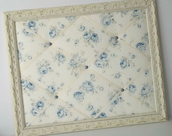 Durham Blue Roses fabric Shabby Chic Distressed Framed French Memo Board
