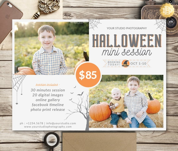 Halloween Mini Session Template, Pumpkin Patch Mini Session, Mini Session Template for Photographer - INSTANT DOWNLOAD - MS016