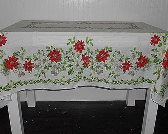 Vintage Christmas Cotton Tablecloth Poinsettia and Holly