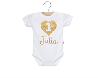 Birthday Outfit - First Birthday Shirt - First Birthday Bodysuit - Birthday Bodysuit - Baby Girl Birthday - Personalized - Gold Glitter -