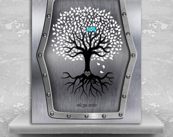 11th Anniversary Personalized Wedding Tree Faux Steel Background Turquoise Gift For Couple Custom Metal Art Print Plaque #1374