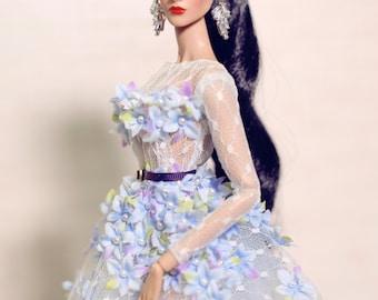 "lady flower dress for fashion royalty , poppy parker, Barbie silkstone , Fashion Dolls 12 """