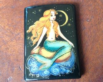 Hand Painted Mermaid On Black Onyx Rectangular Bead