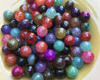 Store Wide SALE! 40% OFF!!! 12mm - 32 Beads - Fire Agate Bright Tourmaline Mix Beads