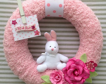 It's A Girl Wreath, Baby Girl Wreath, Baby Shower Wreath, Gender Reveal Wreath, Hospital Door Wreath, Baby Girl Nursery Wreath, Yarn Wreath