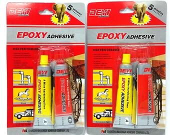 EPOXY Adhesive 5 Minutes Bond AB Glue Plastic / Rubber / Metal / Glass / Wood / Concrete / Ceramics / Instant Bonding - Two Packages