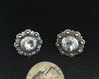 Antique Silver Concho Earrings