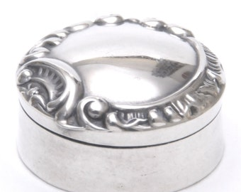 Solid Silver Repousse Pill Box 1899