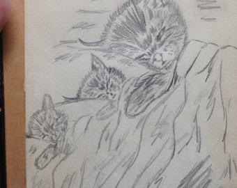 Vintage pencil drawing of 3 whimsical kitties
