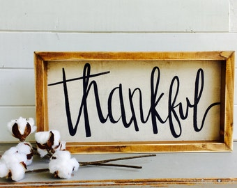 Thankful   Small Rustic Sign   Home Decor   Mantle Sign   Gallery Wall