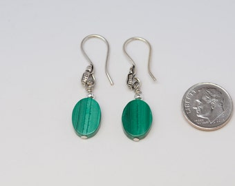 Genuine Malachite Earrings - Reiki Infused with Fancy Sterling Silver Ear Wires