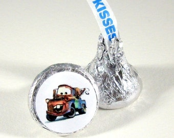 Mater, Truck, Cartoon, Hershey Kiss Stickers, Envelope Seals, Birthday, Party Supplies, Labels, Favors, Small, 120 Stickers