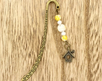 Bird House Beaded Bookmark Bronze Tone White & Yellow Millefiori