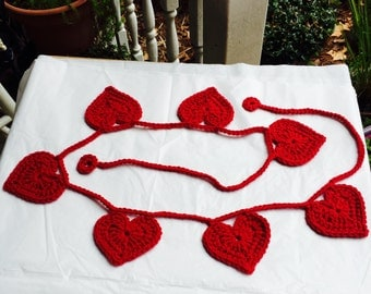 Crocheted Heart Garland, Heart Bunting, Crocheted Hearts, Valentines Day