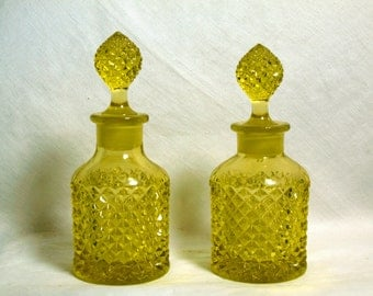 Pair of Topaz Yellow Westmoreland English Hobnail #555 Cologne or Vanity Bottles