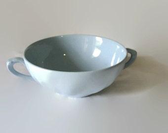 """Vintage 1950s J & G Meakin """"Celeste"""" 2 Handled Soup Bowl / Mug, Light Blue"""