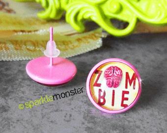 Zombie Brain - pink stud earrings, 12 mm glass dome, faux plugs, horror, kitsch