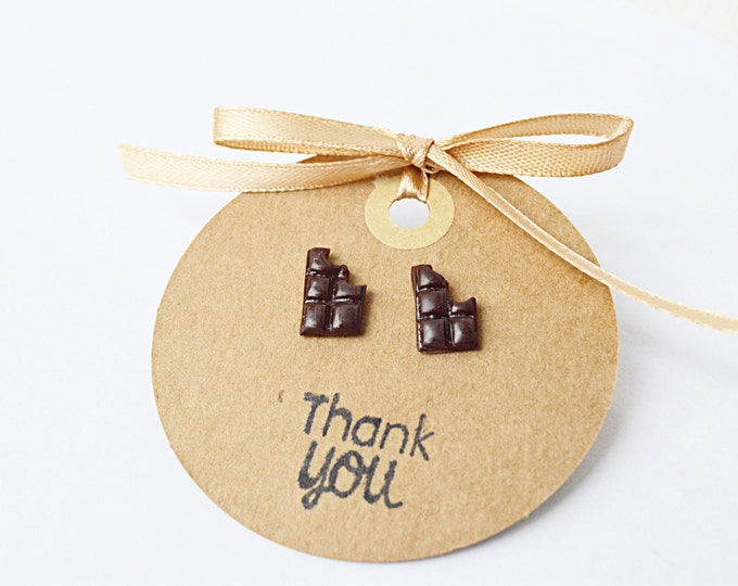 Chocolate bar earrings, chocolate studs, chocolate lover, candy studs, original earrings, gift for her, miniature chocolate bar, fimo studs