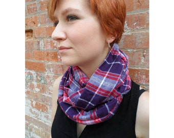 Double loop Pink, red, purple and white cotton flannel plaid infinity scarf, women's winter flannel infinity scarf