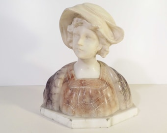 Bust of woman in Alabaster - Alabaster woman bust