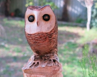 little Owl Wood sculpture, chainsaw carving, wood carving Owl