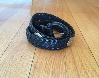 Black leather vintage concho braided belt