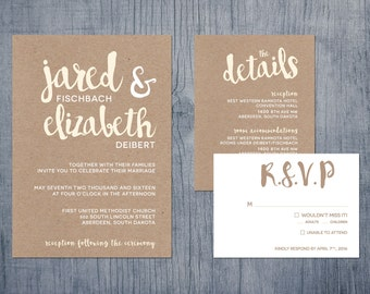 Rustic, Modern, Handwritten Wedding Invitations
