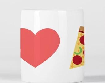 I Love Pizza Emoji Heart Mug, Tea Cup, Coffee Cup, Pizza Emoji, Pizza Lover Gift, Pizza Gift, Love Emoji, Heart Emoji,  M1167