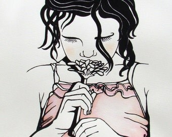 Girl with Flowers, original screen print, watercolour, childrens art